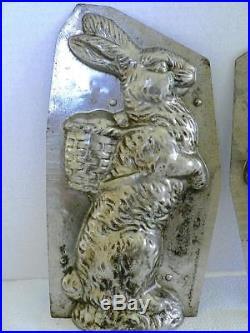 Vintage Huge 11.5 Standing Rabbit Bunny Back Basket Chocolate Mold Antique