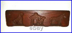 Vintage Primitive Hand Carved Wood Butter Press Speculaas Cookie Mold Dog Horse
