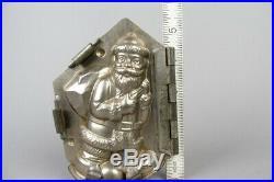 Vintage santa claus with bag chocolate tin mold, german antique #3