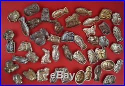 Vintage set 45 Old Primitive Tin Metal Molds Chocolate Molds (# 7322)