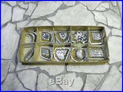Vintage set 50 Chocolate Molds Old Primitive Tin Metal Moulds Sweet