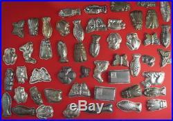 Vintage set 50 Old Primitive Tin Metal Molds Chocolate Molds (# 8786)
