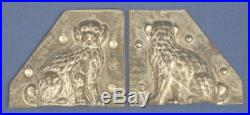 Vtg Antique Chocolate Mold Staffordshire Dog Poodle 2 piece mold 3-3/8 x 3-7/8