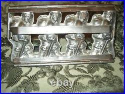 Vtg Antique Chocolate Mold T. C. Weygandt 4 Santa Christmas Hinged Mold 25049