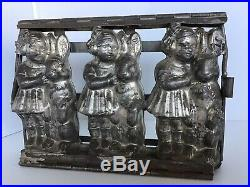 Weygandt Co Antique Chocolate Mold Girl With Easter Standing Rabbit Germany