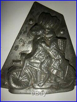 XRARE Antike Schokoladenform 2 HASEN AUF MOTORRAD antique chocolate mold # 9385