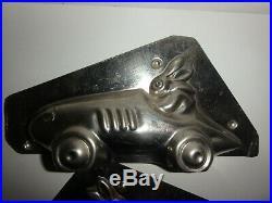 XRARE Antike Schokoladenform HASE & RENNWAGEN antique chocolate mold # 3005